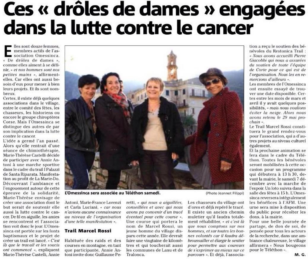 L'Omessinca - Article Corse Matin - 4 Décembre 2013 - Omessa
